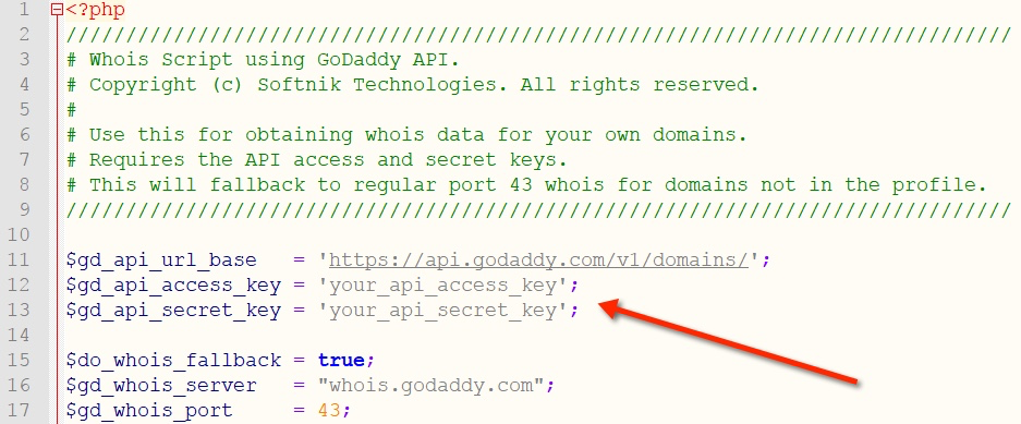 GoDaddy API Script for Whois