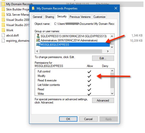 Final Settings SQL Server Folder Access