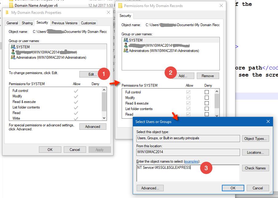 Grant Folder Access to SQL Server
