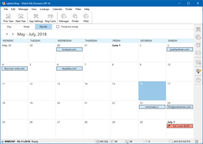 Calender View in Watch My Domains ISP