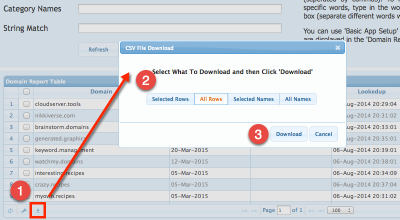 CSV Download Button in Domain Report Table