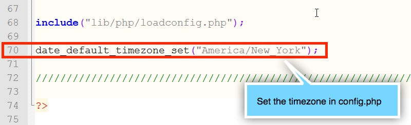 Timezone setting in config.php