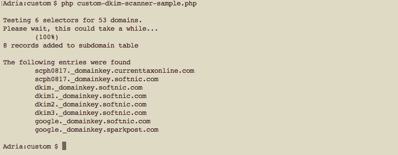 DKIM / TXT Scanner for Watch My Domains SED