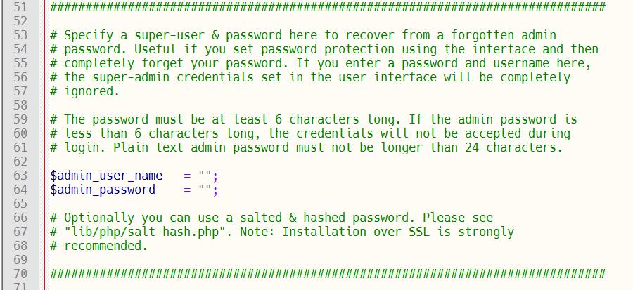 Password reset using configuration file.