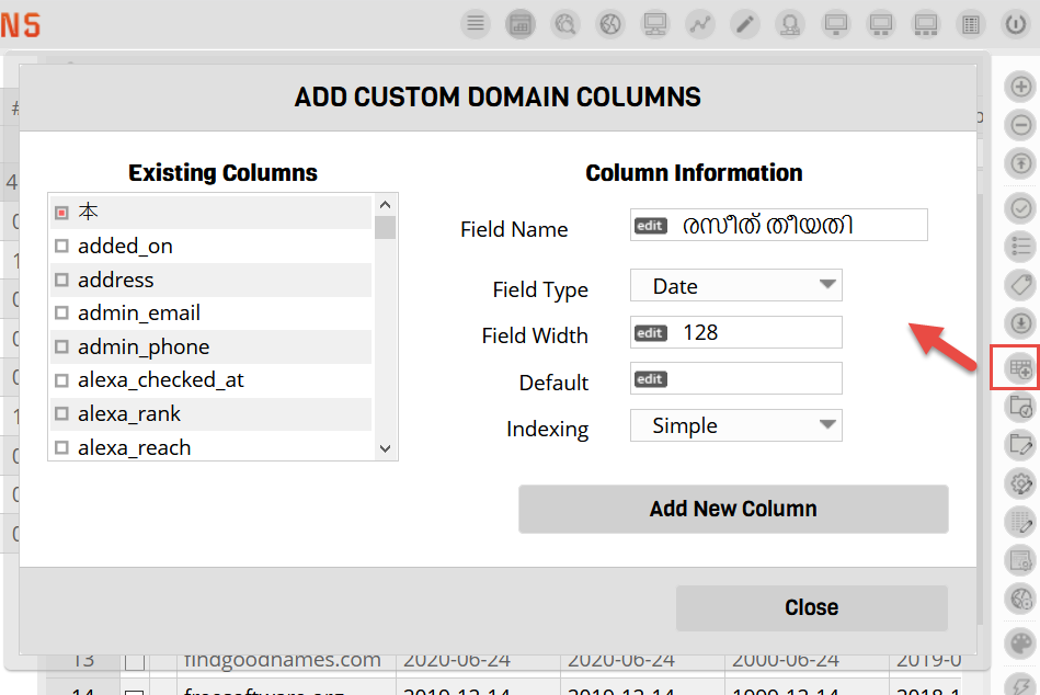 Custom Data Columns
