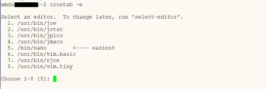 crontab, picking editor