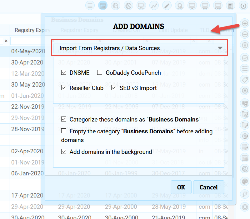 Importing Domains from registrars