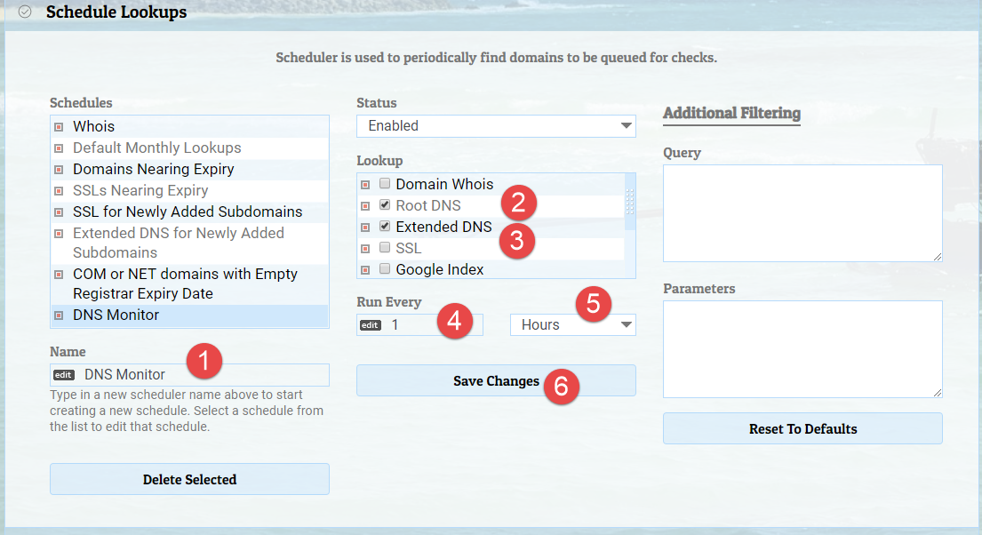 Example DNS Lookup Schedule for Hourly Lookups