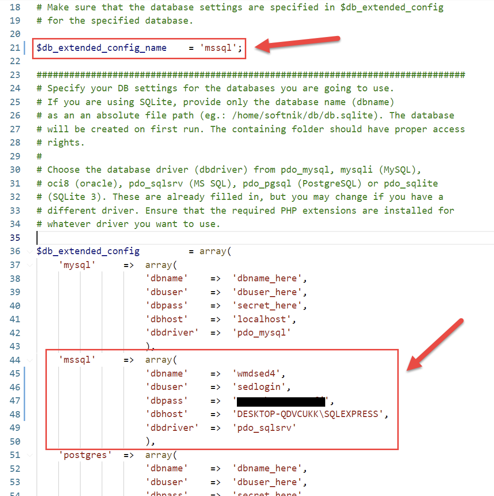 Database Configuration example for MS SQL Server