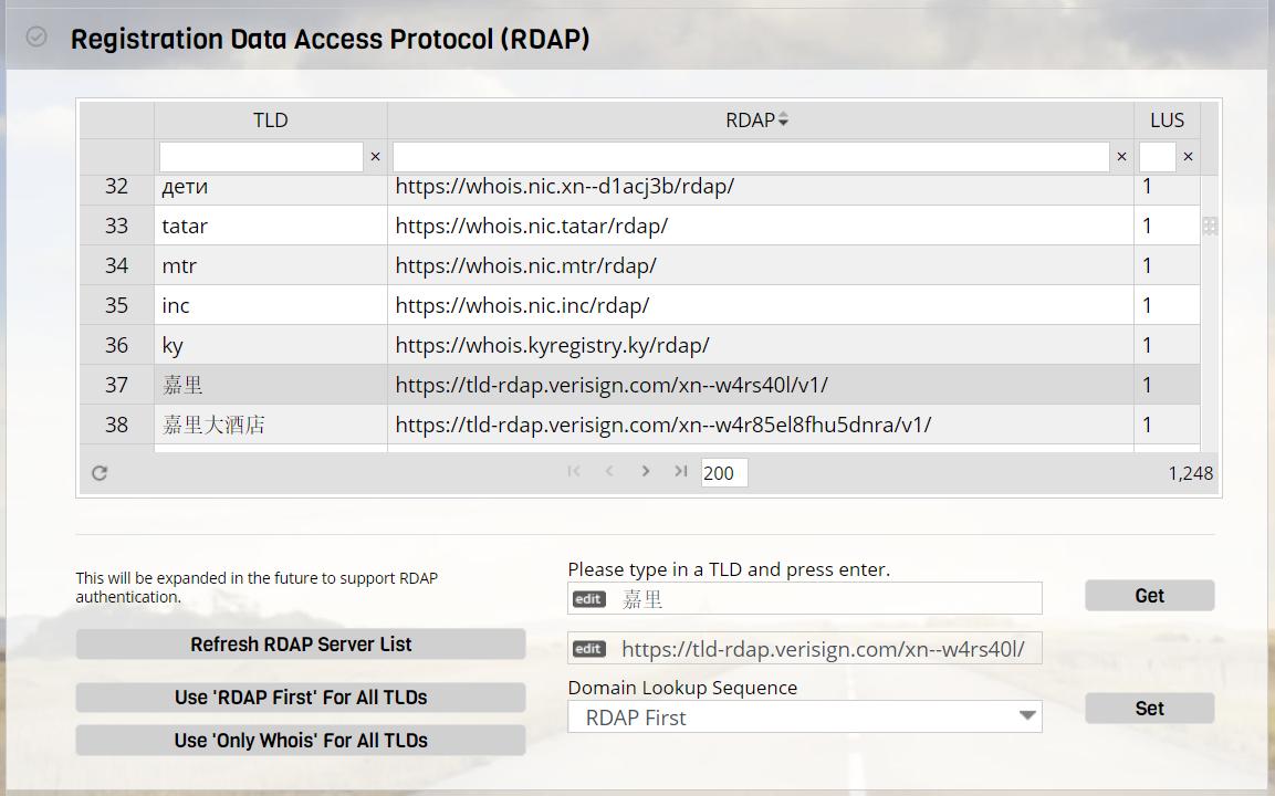 Configuring RDAP / Whois