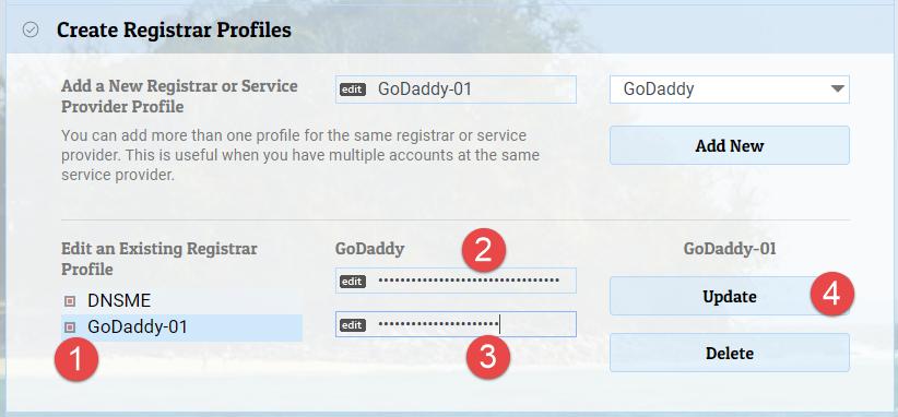 Edit registrar / data provide profile