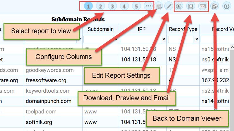 Report viewer  toobar buttons