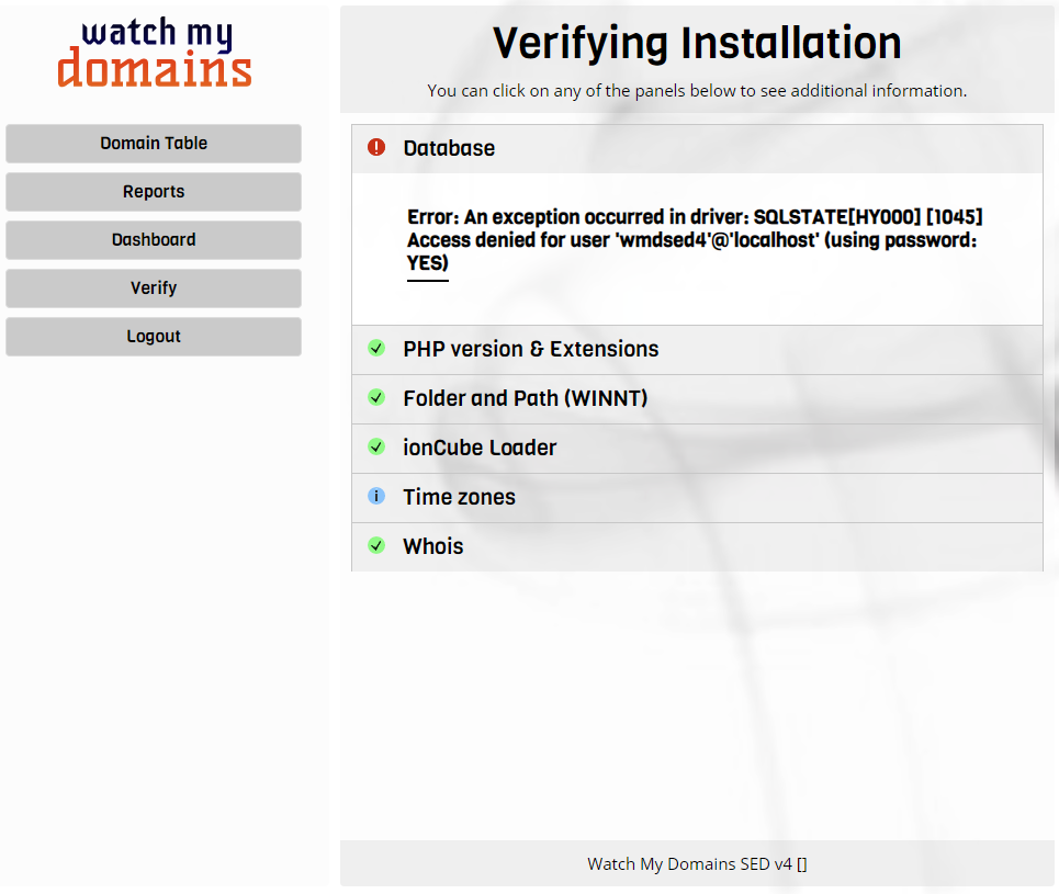 Verify SED Installation