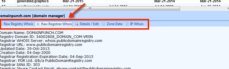 Separate Raw Data Tabs for Whois