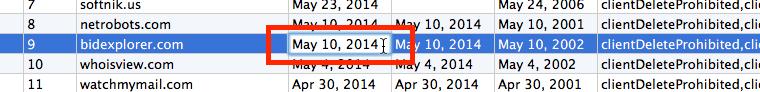Domain Date Editing in Mac Version
