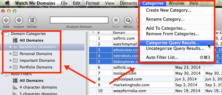 Domain Categories