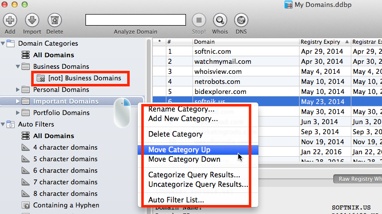 Manage Domain Categories