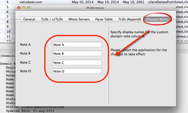 Domain Note Labels